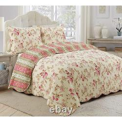 Nouvel Ensemble Cozy Shabby Chic Country Pink Red Ivory Green Yellow Rose Soft Quilt