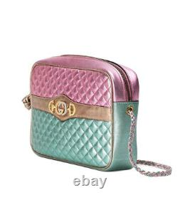 Nwt Gucci Pink/green Laminated Metallic Leather Zumi Crossbody Bag 1790,00 $
