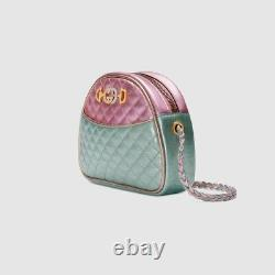 Nwt Gucci Trapuntata Mini Stratifié Sac En Cuir Métallisé Horsebit Rose Vert