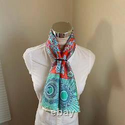 Nwt Hermès 90cm Écharpe En Soie Carre Parures De Samourais Rose Vert