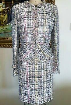Nwt Magnifique Chanel En Tweed Multicolore Fringe Rose Vert Veste Jupe Costume 40