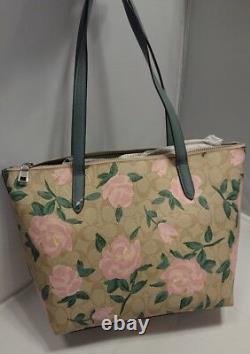 Nwt Nouvel Entraîneur Camo Rose Taylor Tote 31206 Sac À Main Sac À Main Floral Green, Tan Pink