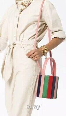 Nwt Staud Bissett Sac De Seau En Cuir Vert Bleu Rouge Rose Rayé Bloggers It Bag