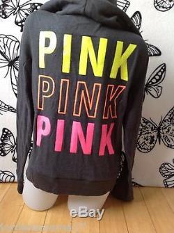 Nwt Victoria's Secret Rose Gris Paillette Bling Neon Limitée Vert Orange Zip L