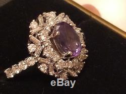 Or 18 Carats 3,68 Ct Gia Certifié Vert Au Rose Alexandrite Diamant Flocon De Neige Anneau
