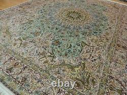 Ouf! 10x14 Tabrize 100% Silk Rug Teal Rose, Vert Pêche/rouille Corale Blue