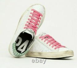 P448 Sneakers John Pink Bubblepin 36eu Sliver Vert Glitter Overlays Suede Nib