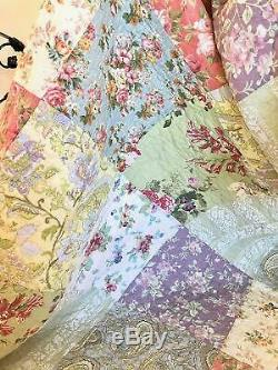 Patchwork Confortable Doux Pays Vintage Ivoire Rose Floral Rose Vert Bleu Set Quilt