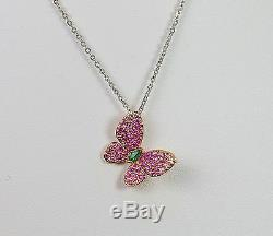 Pendentif Papillon Rose Sapphire Rose Or 18k Rose Diamant Vert Émeraude