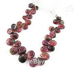 Perles De Briolette De Fleur De Tourmaline Rose Pastèque Vert Taillé À La Main