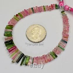 Perles De Cristal De Tourmaline Polie Rose Bleu-vert De 8 Pouces