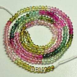 Perles Rondelles Facettées Rondelette Vert Rose Rubellite De 3.2mm
