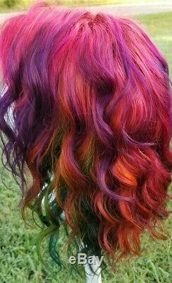 Perruque De Cheveux Humains Avant De Lacet D'automne Rainbow Pink Violet Vert Bleu Orange