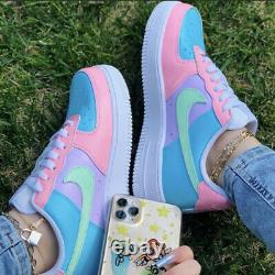 Pink Mint Green Sky Blue Lilas Purple Nike Air Force 1 Baskets Femme Toutes Tailles