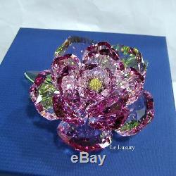 Pivoine Swarovski, Fleur Rose Vert Cristal Jaune Mib Authentique 5136721
