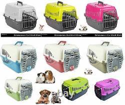 Plastic Pet Cat Carrier Dog Travel Basket Cage Extérieur Moyen Rose Vert Argent