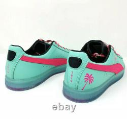 Puma Clyde 1973 South Beach Miami Palm Tree Leather Teal Green Pink Mens Taille 12