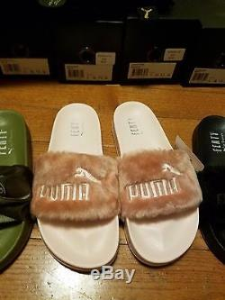 Puma X Rihanna Fenty Toboggans Vert Olive Rose Noir Gris Blanc Pantoufles À La Main