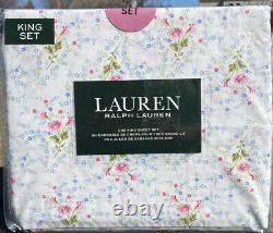 Ralph Lauren 4 Pc. King Sheet Set Cottage Chic Floral Bleu Rose Vert & Blanc