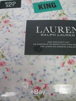 Ralph Lauren Cotton Shabby Cottage Blanc Rose Vert Floral Ensemble De Draps Roi