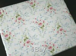 Ralph Lauren Floral De Set Toile Feuille Queen Rose Bleu Vert Blanc 100% Coton