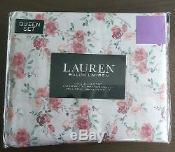 Ralph Lauren Rose / Corail Blanc Vert Printemps Floral Reine Jeu De Feuilles 4 Pc