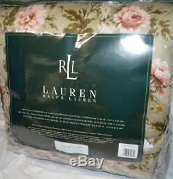 Ralph Lauren Yorkshire Rose Floral Édredon Plein / Reine Nouveau Vert Rose Or