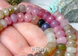 Rare Naturel Grand Bleu Vert Facettes Rose Sapphire Perles 16,75 Complet Volet 262ct