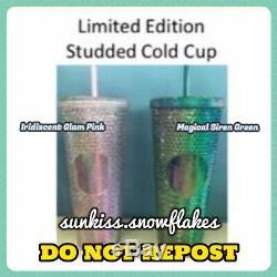 Rare Starbucks Authentique Cloutés Rose Sakura Vert Sirène Coupe Du Froid Preorder 24 Oz