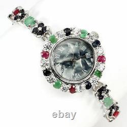 Regarder Green Emerald Blue Sapphire Pink Ruby Genuine Gems Sterling Silver 7 1/2