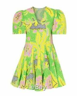 Rhode Resort Nwt Vivienne Neon Vert Rose Imprimé Floral Manches Bouffantes Mini Robe S