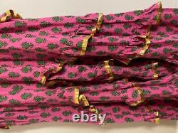 Rhode Resort Rose Et Vert Imprimé Taille Robe Petite Avec Des Détails En Or Beach Dr