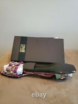 Roberto Cavalli Classe, Rose & Vert, Faux Python Leather Sandals Slides Taille 37