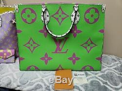 Sac Louis Vuitton Monogram Giant Onthego Vert Vert Lilas Rose Sur Le Go