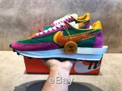 Sacai X Nike LVD Waffle Daybreak Rose + Vert
