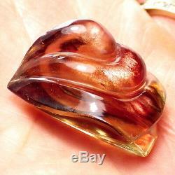 Schiller Oregon Sunstone 55.74ct Orange Rose-vert Carving-rare