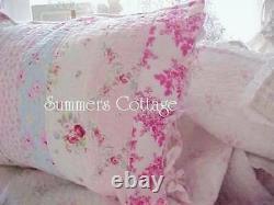 Shabby Beach Cottage Bella Blue Green Rose Roses Chic Twin Quilt & Oreiller Sham