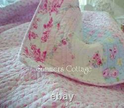 Shabby Beach Cottage Roses Roses Bleues Chic Raspberry Toile Green Full Queen Quilt