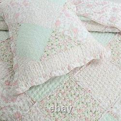 Shabby Chic Country Soft Shabby Rose Dentelle Verte Lavande Lilas Ruffle Jeu De Courtepointe