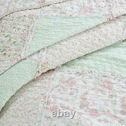 Shabby Chic Romantique Soft Cotton Rose Dentelle Vert Lavande Ruffle De Lila Set De Courtepointe