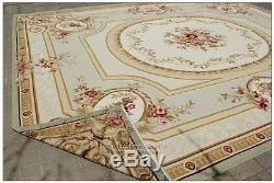 Shabby French Chic Aubusson Carpette Sub Ivert Vert Ivoire Avec Tapis En Laine Rose