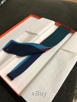 Skinny Hermes Soie Knit Tie 4 Temps Rose Foncé, Vert Foncé Forêt, Ciel Bleu
