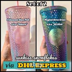 Starbucks Singapour Vert Oil Slick & Rose Sakura Clouté Coupe Froide + Dhl Express