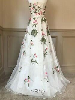 Sue Wong Ivoire / Rose / Vert Soie Robe Sans Bretelles Perlés À La Main Taille 10 Nwt