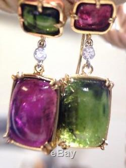 Superbes Boucles D'oreilles Pendantes En Or Jaune 14k À Diamants Tourmaline Rose-vert De 17 Ct