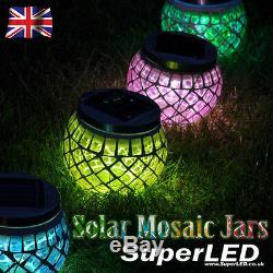 Superled + Lumières De Pot De Jardin De Mosaïque De Jardin Solaire, Rouge, Vert, Bleu Et Or New Effect