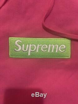 Supreme Box Logo Hoodie Taille Grande Bogo Lime Vert Rose À Capuchon