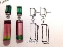 Sur Commande! 14k Or Rose Naturel Vert Tourmaline Diamond Drop Boucles D'oreilles