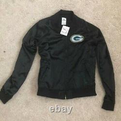 T.n.-o. Green Bay Packer Pink Victorias Secret Black Satin Bomber Jacket Large