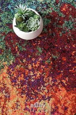 Tapis Contemporain Abstrait Nuloom Contemporain En Rose, Bleu, Orange, Vert Multi